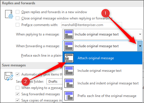 Please include the original message option when forwarding emails