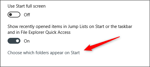 "Click ""Choose which folders appear on Start."""