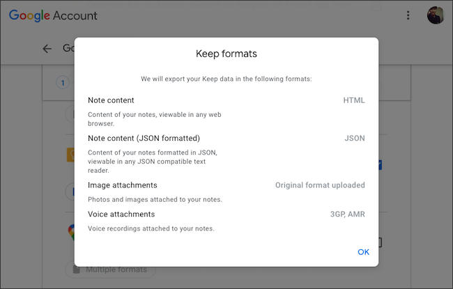 Check the file formats for Google Keep data export