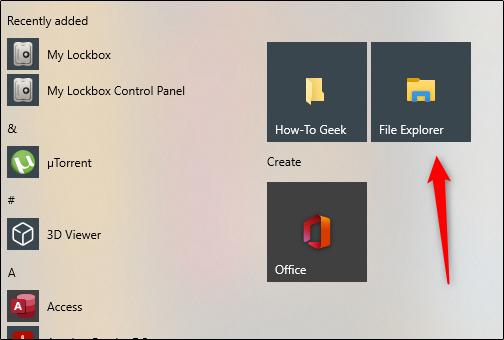 "Click ""File Explorer"" in the Start menu."