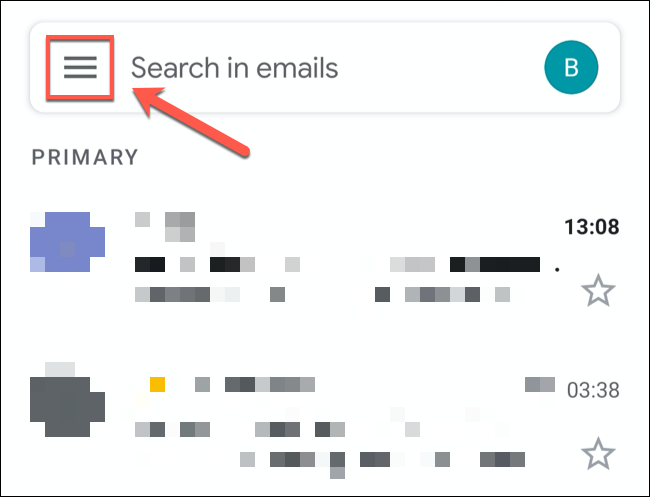 Tap the hamburger menu icon in the top-left of the Gmail app.