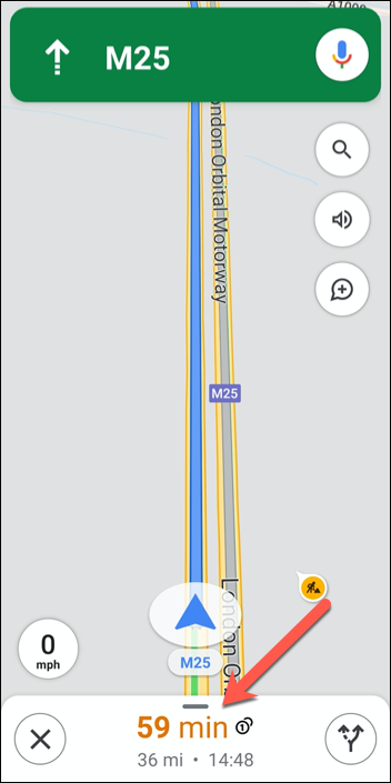 Tap the route information (with ETAs) at the bottom of the Google Maps navigation interface