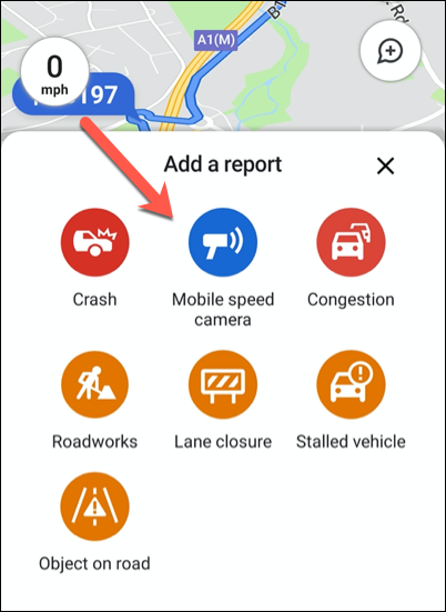 Click any of the available traffic report options to add it to your location in Google Maps