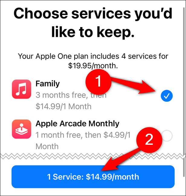 Choose a service you'd like to keep and then tap the confirm button
