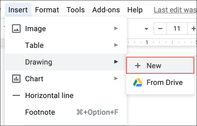 Click Insert, Drawing, New in Google Docs