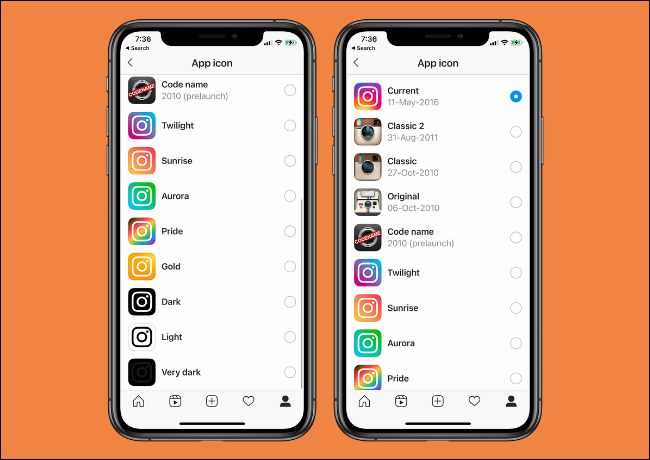 Instagram app icon options