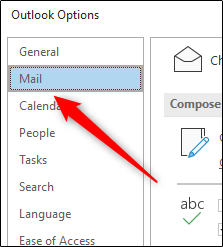 The E-mail tab in the Outlook Options window