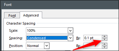 Remove space between letters by points