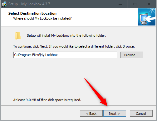 Select a location and click Next in the installation wizard