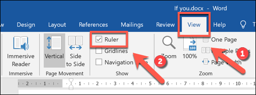 "Click View> Ruler to display the ribbon bar in Microsoft Word ""width ="" 513 ""height ="" 191 ""/></p> <p>This will display the ruler at the top and left of your document.  The white areas are within the printable area of ​​the document and match the margins of the document page.  Each point on the ruler is 0.25 cm in size.</p> <p>To set a block quote indent, select your quote, then drag the hourglass-shaped icons at the top of the menu bar until both the top and bottom icons are at the 0.5 cm mark.</p> <p><img class="