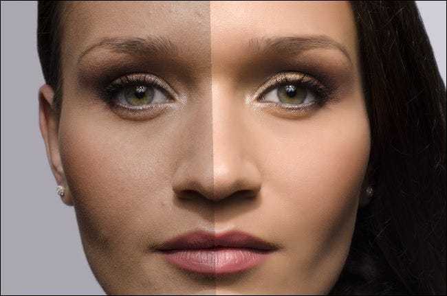 A comparison of a female photo with and without airbrushing.