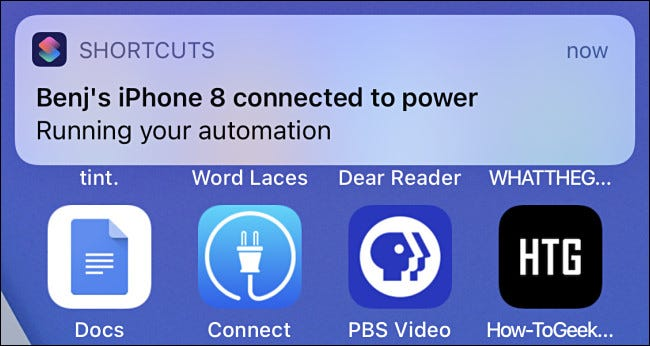 An automation notification in iOS 14.