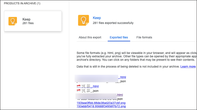 Google Keep notes in an exported data archive.