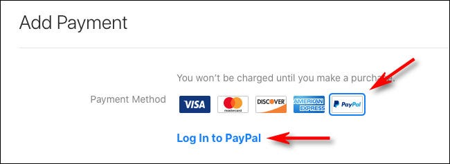 "Select ""PayPal,"" then click ""Log In to Paypal"""