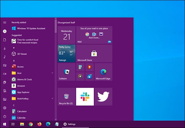 A Windows 10 Start menu with an accent color added.