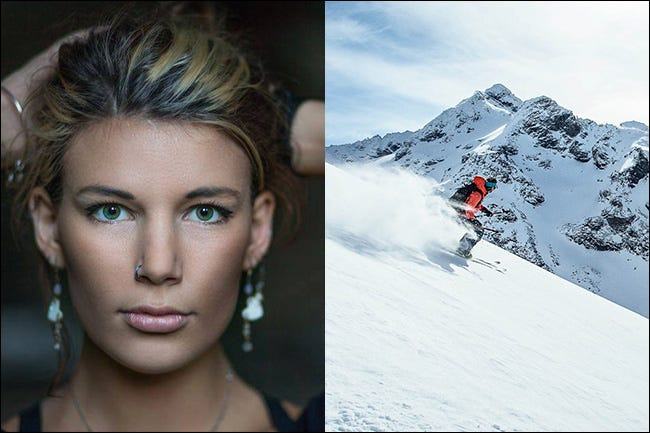 A portrait of a woman on the left and a man skiing down a mountain on the right.