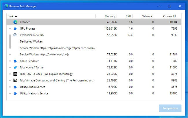 A preview pane of Microsoft Edge's built-in Browser Task Manager