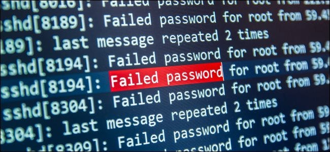 "A ""failed password"" message from sshd."