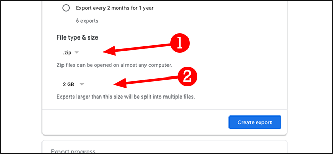 google takeout file type