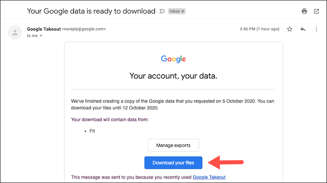 Download Google Fit data archive