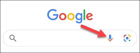 In Google, tap the microphone icon