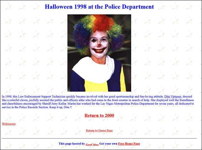 An update from a police department's website featuring an employee dressed in a clown costume for Halloween.