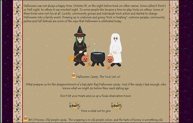 """""""Halloween: A Brief History"""" on a GeoCities site, featuring a graphic of trick-or-treaters standing next to a cauldron."""