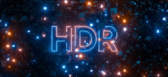 An HDR logo in neon light.