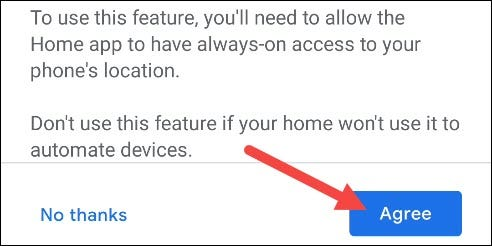 """Tap """"Agree"""" to grant location permission."""