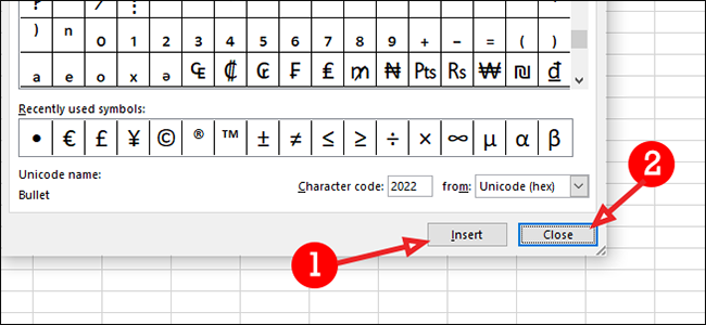 insert and close in excel