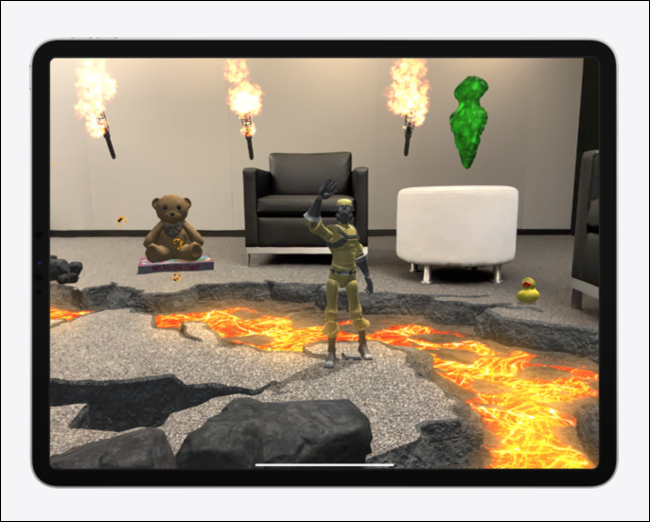 Virtual toys, characters, and scenery in a living room AR Experience on iPad Pro.