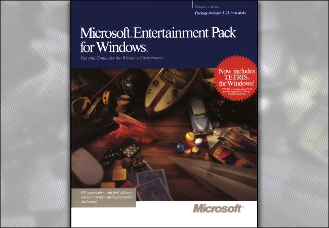 The Microsoft Entertainment Pack for Windows box, circa 1990.
