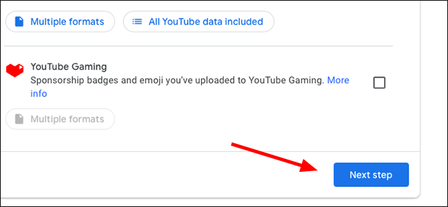 Google Takeout button for the next step