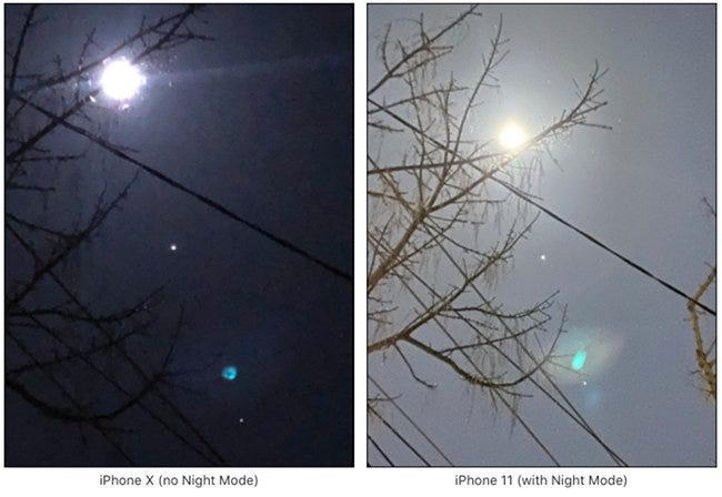 Two images of the moon, one image on an iPhone 10 and the other in night mode on an iPhone 11.