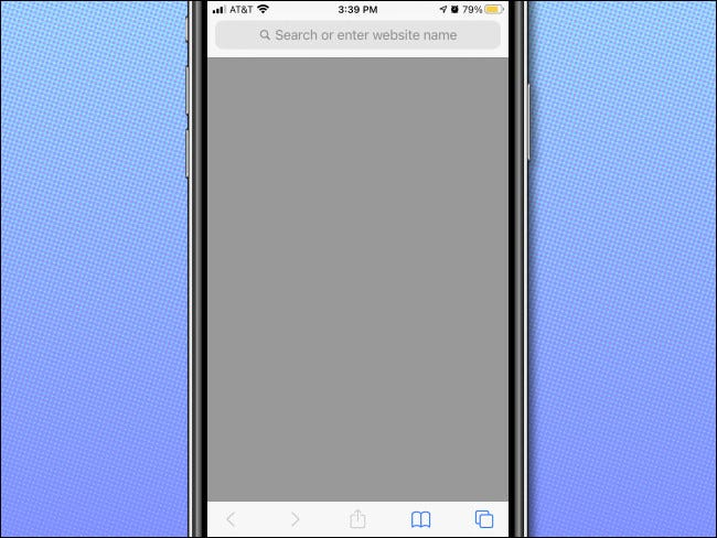 An example of a blank page in Safari on iPhone with no favorites displayed