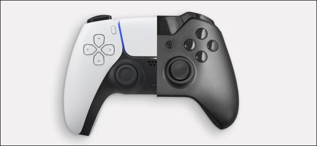 A PlayStation 5 and Xbox Series X controllers.