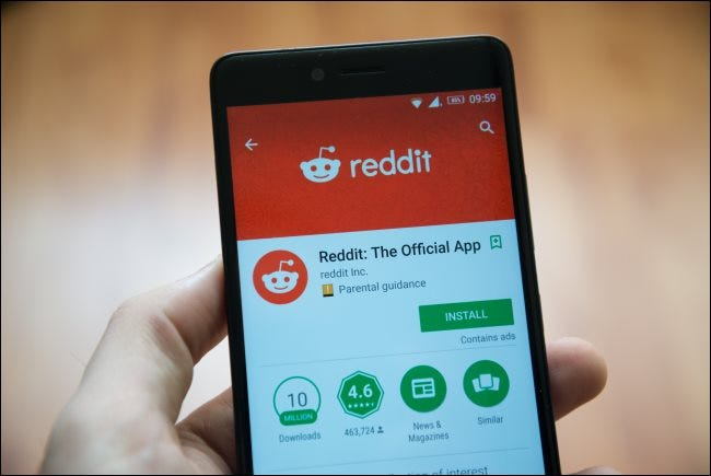 Someone looking at Reddit on an Android phone.