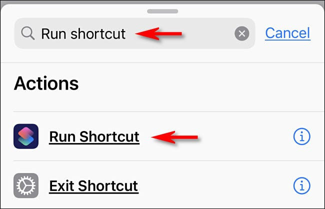 """Type """"Run Shortcut"""" in the Search box, and then tap """"Run Shortcut."""""""
