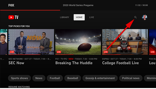 On YouTube TV home screen, select the search icon.