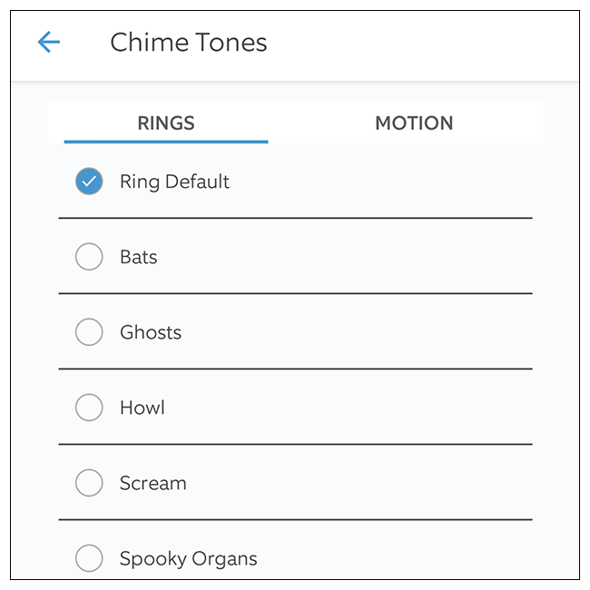 Select the chime tone you'd like to use