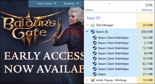 The Task Manager shows Steam Client WebHelper process RAM usage