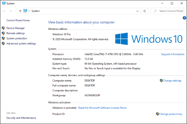 The classic System Control Panel, which is now hidden on Windows 10