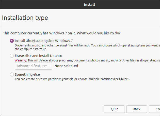 Select an installation type when installing Ubuntu