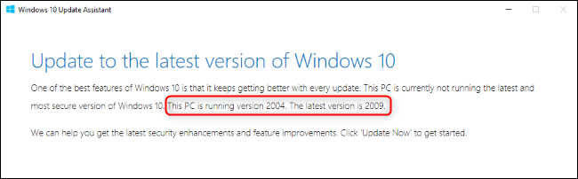 The Windows Update Assistant showing version numbers.