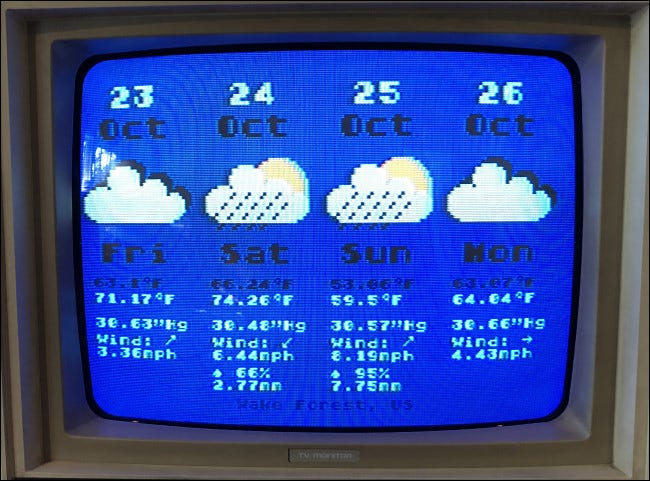 A four-day weather forecast on an Atari 800.
