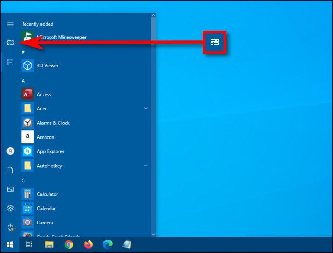 In the Windows 10 Start menu, click the Pinned tiles button
