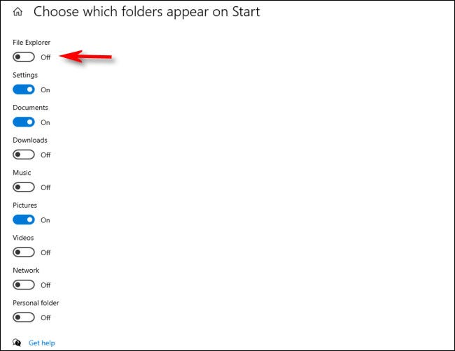 """In the """"Choose which folders appear on Start"""" menu, click the switches beside folders to activate them"""