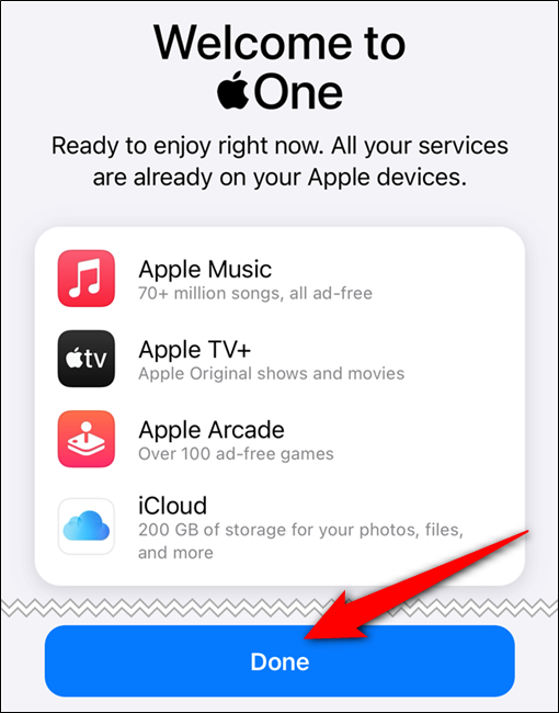 "Your Apple One subscription is confirmed. Tap the ""Done"" button"