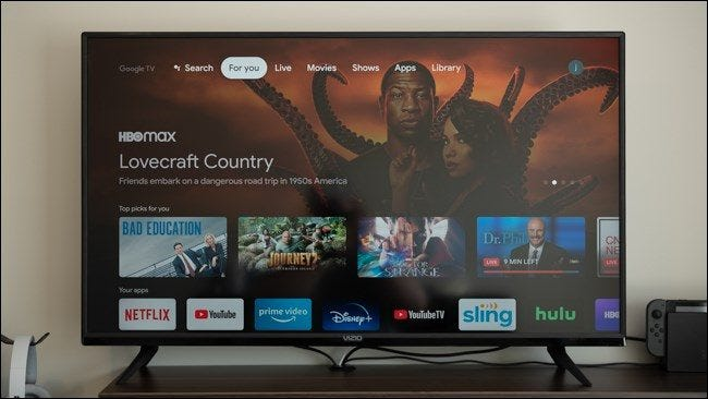 The Home screen on a Chromecast with Google TV.