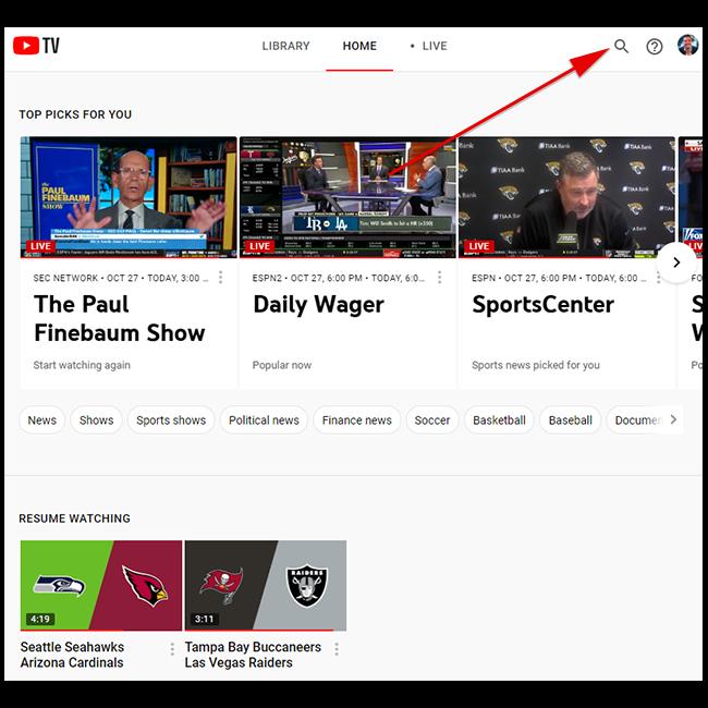 Em tv.youtube.com, clique no ícone de pesquisa.